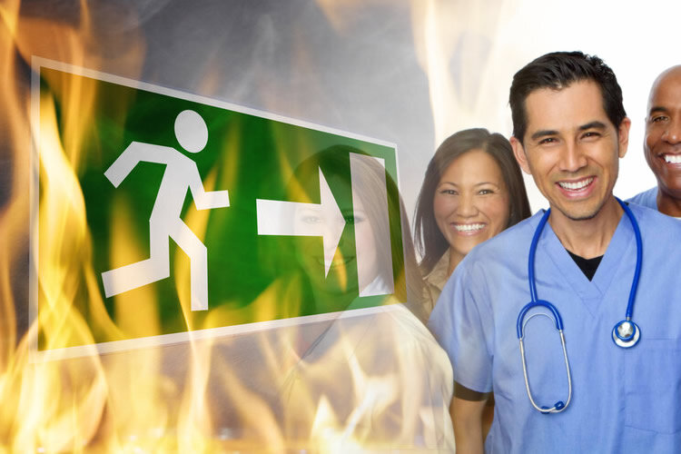 fire safety training in hospitals image of staff